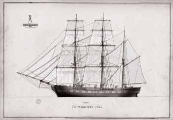1845 Barque Dunbrody pen ink study